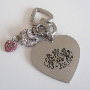 Juicy Couture Heart Shaped Bag Charm Silver